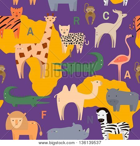 Seamless pattern with African animals in flat geometric style. Vector Illustration