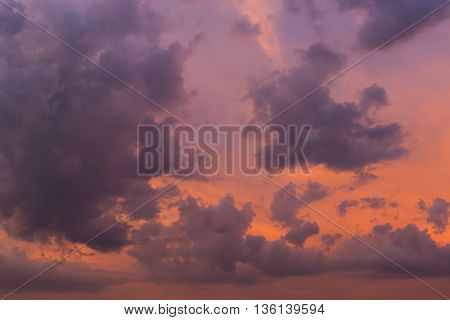 Wonderful Cloud On Twilight Sunset Sky Background