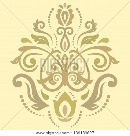 Oriental golden pattern with arabesques and floral elements. Traditional classic ornament
