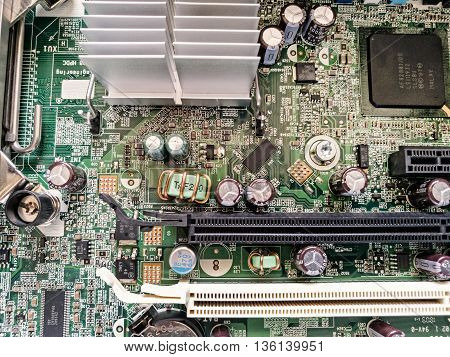 Close up of motherboard pc. Electronics theme. Circuit board. Personal cumputer. Information technology.