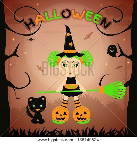 Halloween kids. Halloween vector. Halloween girl, happy Halloween.
