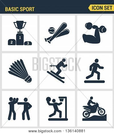 Icons set premium quality of basic sport and sports development of sports training. Modern pictogram collection flat design style symbol collection. Isolated white background.