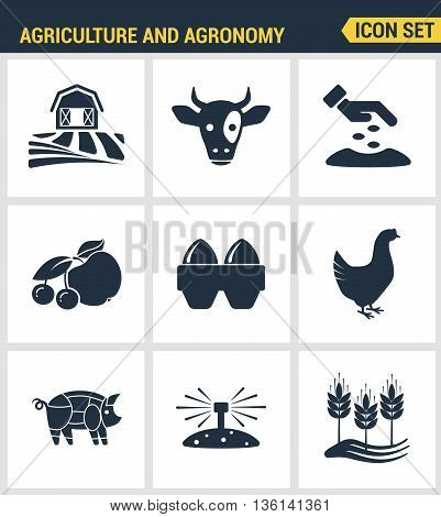 Icons set premium quality of agriculture and agronomy icon set farming feeding business. Modern pictogram collection flat design style symbol collection. Isolated white background.