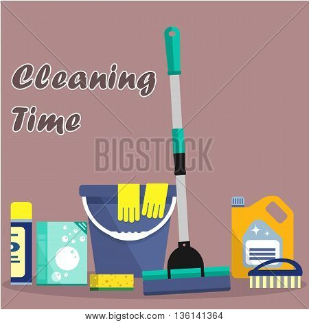 Cleaning time concept. Flat illustration. Vector cleaning products symbols. It can be used for the websites, banners, typographical products