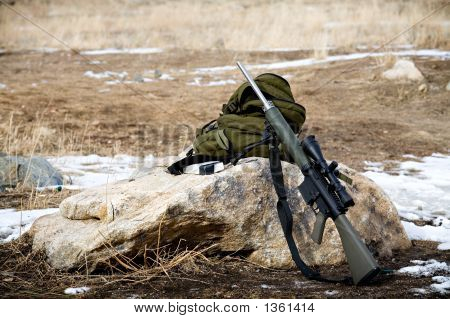Rifle On Rock
