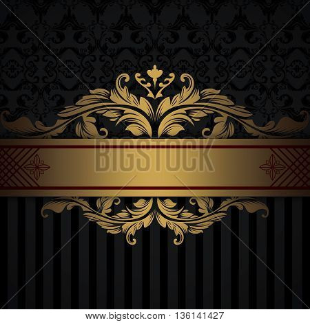 Black and gold vintage background with decorative gold border and old-fashioned patterns.