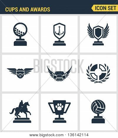 Icons set premium quality of cups and awards prize victory set award champ trophy. Modern pictogram collection flat design style symbol collection. Isolated white background.