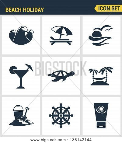 Icons set premium quality of beach holiday diving travel worldwide nature vacation. Modern pictogram collection flat design style symbol collection. Isolated white background.