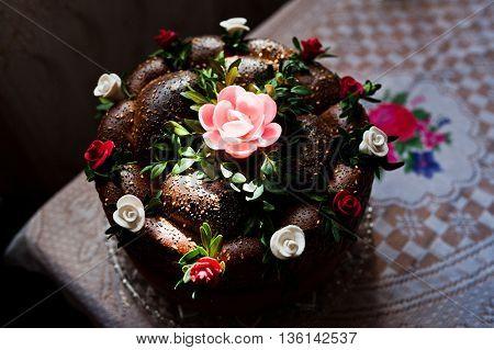 Wedding loaf in the sun shine at wedding