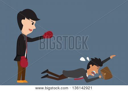 Businessman boxing against a giant business man between small business and Big business but small business being flee from the fighting . Business competition concept cartoon illustration.