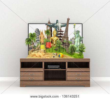 Concept of travel. Popular attractions of the world protruding from the screen of TV on the wooden table. 3d illustration