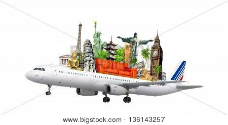 travel the world by airplane concept. 3d illustration .