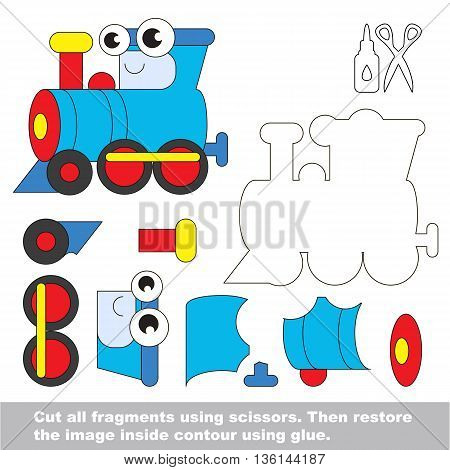 Use scissors and glue and restore the picture inside the contour. Easy educational paper game for kids. Simple kid application with Blue Locomotive.