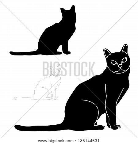 Cat sitting black silhouette vector illustration set