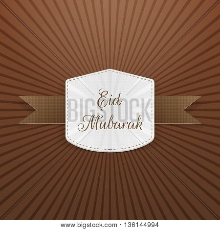 Eid Mubarak paper Tag with Ribbon. Vector Illustration