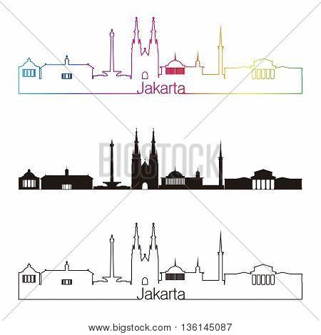 Jakarta skyline linear style with rainbow in editable vector file
