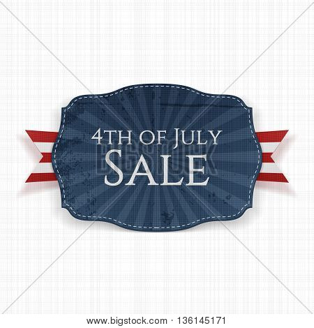 4th of July Sale Holiday Label. Vector Illustration