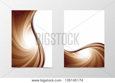 Flyer template vortex design. Abstract flyer template in coffee with milk colors. Swirl wave spectrum flyer design. Vector illustration