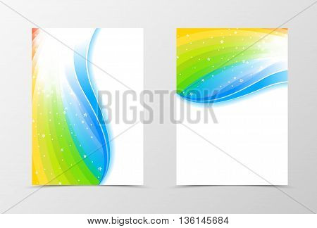 Rainbow flyer template design. Abstract flyer template in rainbow color with blue line and white stars. Spectrum flyer design. Vector illustration