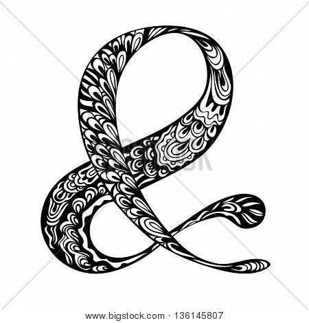 Doodle Ampersand symbol. Elegant hand drawn symbol for wedding invitation. Character meaning And catchword for design. Hand lettering black and white ink drawing zenart. Vector illustration.