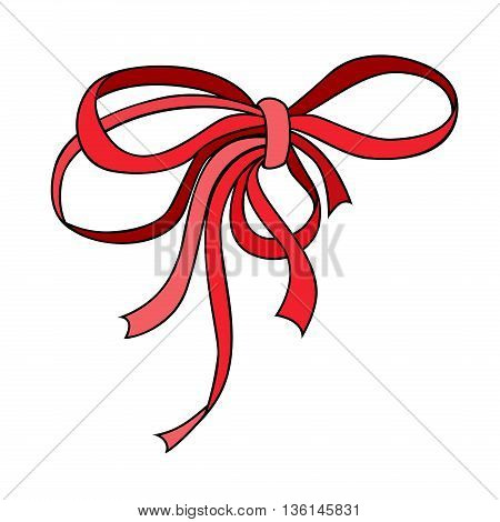 Nice small red bow. Holiday symbol. Outlined bright red decorative element. Vintage tie bow. Vector illustration.