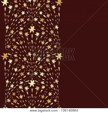 Repeat background with golden firework. Abstract design hand drawn fireworks elements. Vertical seamless pattern. Card or flyer template. Copy space. Vector illustration.