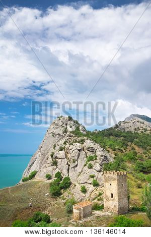 ancient tower , bright summer photo tour of Crimea