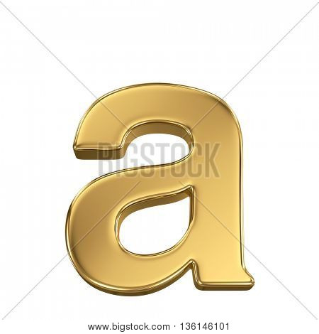 3d rendering, golden shining metallic font, lowercase letter a - isolated on white