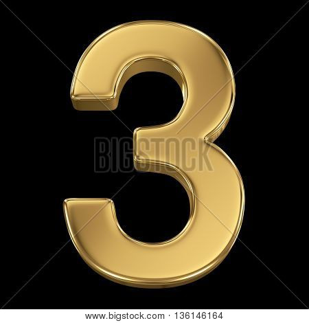 3d rendering, olden shining metallic number collection - three, isolated on black