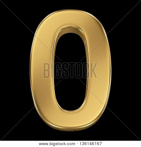 3d rendering, olden shining metallic number collection - zero, isolated on black