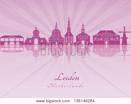 Leiden skyline in purple radiant orchid in editable vector file