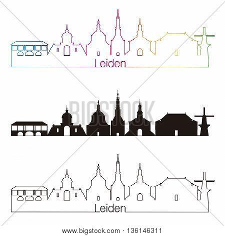 Leiden skyline linear style with rainbow in editable vector file