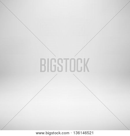 White empty photo studio backdrop background with realistic light for design concepts, presentations, posters, banners, web and prints. Vector illustration.
