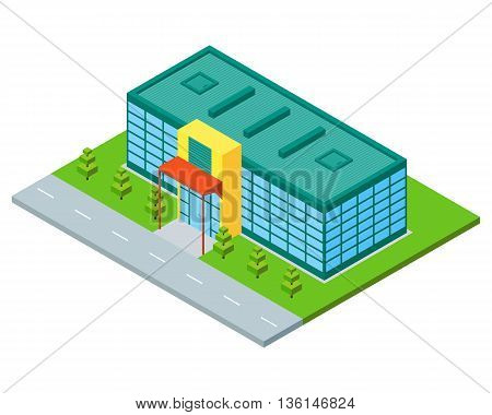 Isometric city building of supermarket store or mall. Three dimensional town constraction. Shopping flat concept. Infographic design element. Vector isolated illustration.