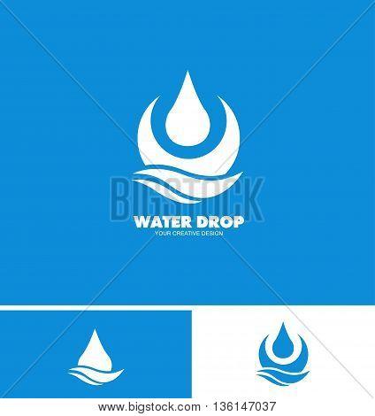 Vector company logo icon element template water drop droplet aqua liquid mineral ecological