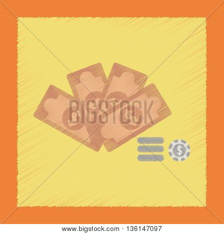 flat shading style icon poker Money dice chips