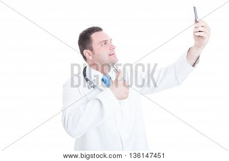 Male Medic Or Doctor Taking Selfie And Showing Thumb Up