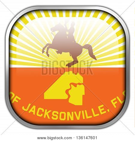 Flag Of Jacksonville, Florida, Square Glossy Button