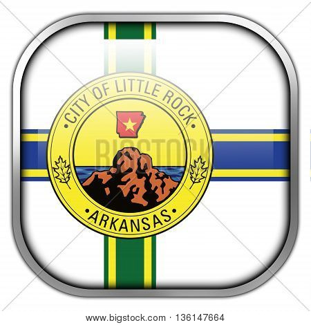 Flag Of Little Rock, Arkansas, Square Glossy Button