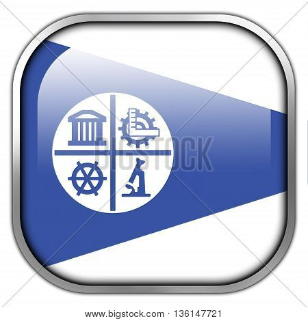 Flag Of Minneapolis, Minnesota, Square Glossy Button