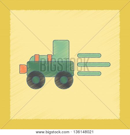 flat shading style icon Kids toy Tractor