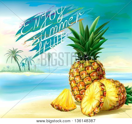 Cut pineapple and round slices on a tropical background. Vector illustration