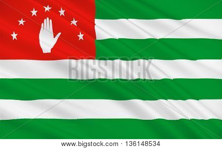 Flag of Abkhazia is a partially recognised state on the eastern coast of the Black Sea and the south-western flank of Caucasus south of Russia and northwest of Georgia proper. 3d illustration