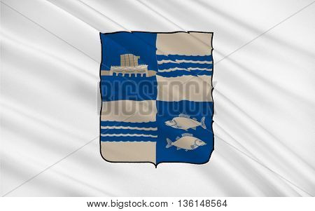 Flag of Mingachevir is the fourth-largest city in Azerbaijan. 3D illustration