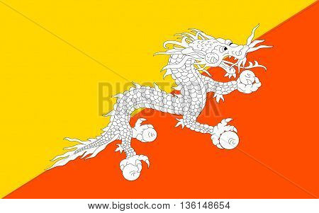 Flag of Bhutan officially the Kingdom of Bhutan is a sovereign state in South Asia.