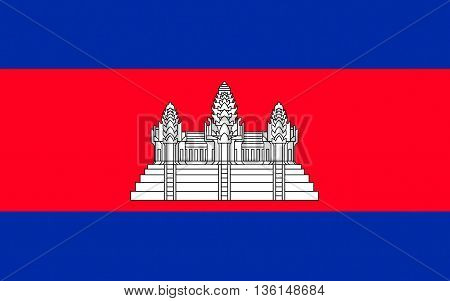 Flag of Cambodia officially known as the Kingdom of Cambodia and once known as the Khmer Empire is a country located in the southern portion of the Indochina Peninsula in Southeast Asia.
