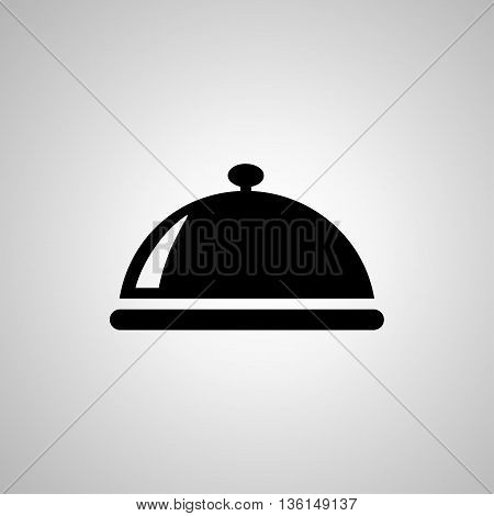 Food platter serving sign icon. Table setting in restaurant symbol. Hot warm meal. Flat restaurant web icon on white background. Vector