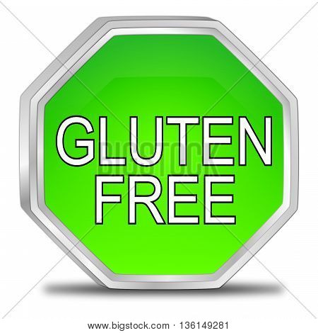 green Gluten free Button - 3D illustration
