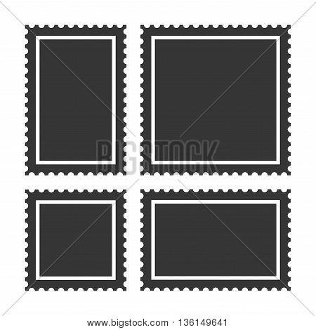 Blank Postage Stamps Set on White Background. Vector illustration