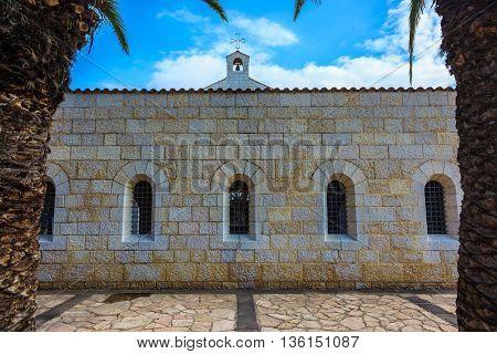 Lake Kinneret, Israel. Cosy small church yard